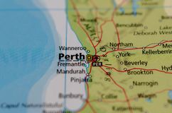 Perth on map. Close up shot of Perth on a map Royalty Free Stock Image