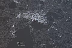Perth mapa, satelitarny widok, miasto, Australia Obraz Royalty Free
