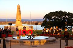 Perth memorial Kings  park 100th ANZAC dusk service Royalty Free Stock Images