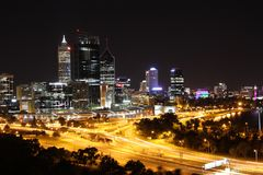 Perth at night. View of central business district, Perth skyline, Western Australia