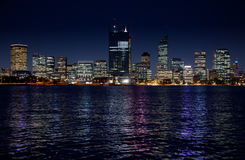 Perth Skyline. Capital of Western Australia during the construction of multiplex skyscraper during the Queen of England's visit in October 2011, All logos Stock Images