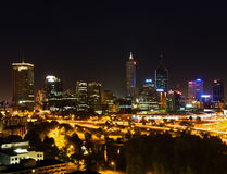 Perth Skyline. With night reflections on swan river Royalty Free Stock Photo