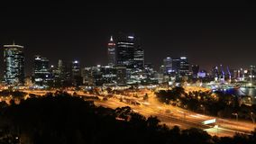 Perth skyline aerial. Perth, Australia - Jan 5, 2018: Panoramic view time lapse from King`s Park near War Memorial of Perth Skyline with skyscrapers and light stock video