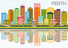 Perth Skyline with Color Buildings, Blue Sky and Reflections. Stock Photography