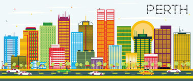 Perth Skyline with Color Buildings and Blue Sky. Stock Image