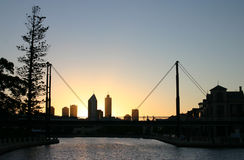 Perth skyline. A different perspective of the Perth, Australia skyline taken from the east towards the setting sun Royalty Free Stock Photo
