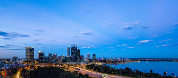 Perth Skyline at Dusk Stock Photos