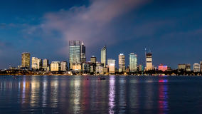 Perth Skyline by night. Repeatedly rated as one of the most liveable cities in the word, Perth is an incredible blend between laid back lifestyle and royalty free stock photo