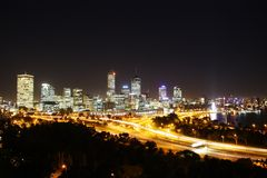 Perth. Skyline by night, taken from Kings Park Stock Images