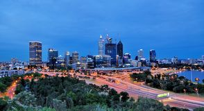 Perth Skyline at Night. View of Night Perth Skyline from King's Park stock images