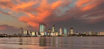 Perth Skyline before stormcloud. Repeatedly rated as one of the most liveable cities in the word, Perth is an incredible blend between laid back lifestyle and royalty free stock images