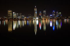 Perth. Skyline of Perth Westaustralien at night Stock Photo