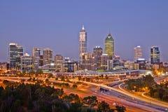 Perth Skyline Western Australia at Dusk stock photo