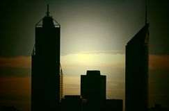 Perth skyscrapers silhouette cross-processed Stock Images