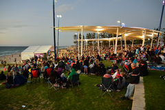 PERTH, WA / AUSTRALIA, DECEMBER 13, 2015: Christmas Carols 2015. Families enjoy picnics at Christmas Carols 2015 event on Scarborough Beach in Perth stock photos