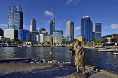 Australia, WA, Perth CBD. Perth, WA, Australia - November 27, 2017: Skyline from Perth with different buildings and sculpture of Bessie Mabel Rischbieth, a stock images