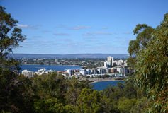Perth, Western Australia. View through trees above the skyline of South Perth in Western Australia on sunny day Stock Photography