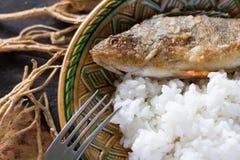 Pertica fritta con riso Fotografia Stock