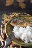 Pertica fritta con riso fotografie stock libere da diritti
