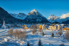 Pertisau village at the Alps in Tyrol, Austria. The beautiful view over the Karwendeltal at the Alps in Tyrol, Austria. It is located near Innsbruck at the lake Stock Photos