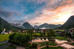 Pertisau village at the Alps in Tyrol, Austria Stock Photo
