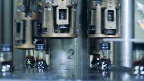 Perto acima dos pescoços das garrafas com os tampões que movem-se ao longo de uma máquina industrial filme