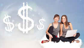 Young women sitting on cloud next to cloud dollar signs. Pertty young women sitting on cloud next to cloud dollar signs Royalty Free Stock Photo