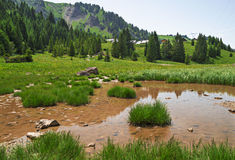 Pertuis lake  - glacial lake that dries up in summer, at 1620 m Stock Photos