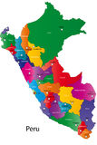 Peru. Map designed in illustration with the regions colored in bright colors and with the main cities Stock Photos