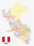 Peru administrative map with flag Stock Image