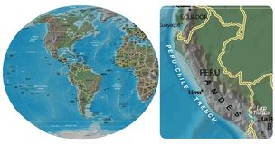 Peru and The Americas map Royalty Free Stock Photo