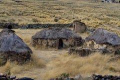 Peru Andes Old Inca Houses-Dorf Lizenzfreie Stockfotografie