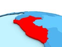 Peru on blue globe Stock Images