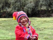 Peru child in traditional costume near Cuzco Stock Image