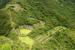 Peru, Choquequirao riuns. Choquequirao is an Incan site in south Peru, similar in structure and architecture to Machu Picchu. The ruins are buildings and Stock Image