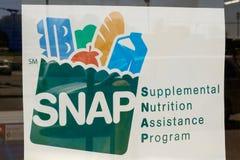 Peru - Circa May 2018: A Sign at a Retailer - We Accept SNAP V stock image