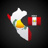 Peru country design. Peru country map with colors of the flag. colorful design. illustration Vector Illustration