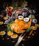 Peru cozido para o foco seletivo do dia da ação de graças do Natal ou do ano novo Fotos de Stock