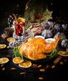 Peru cozido para o foco seletivo do dia da ação de graças do Natal ou do ano novo Imagens de Stock