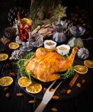 Peru cozido para o foco seletivo do dia da ação de graças do Natal ou do ano novo Fotografia de Stock