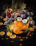 Peru cozido para o foco seletivo do dia da ação de graças do Natal ou do ano novo Fotografia de Stock Royalty Free