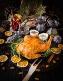 Peru cozido para o foco seletivo do dia da ação de graças do Natal ou do ano novo Foto de Stock