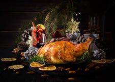 Peru cozido para o foco seletivo do dia da ação de graças do Natal ou do ano novo Foto de Stock Royalty Free