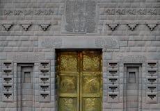 Peru, Cusco Detail van deur in Qurikancha en het Klooster van Santo Domingo stock afbeelding