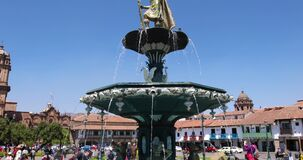Peru Cusco fountain of the Inca warrior