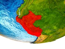 Peru on 3D Earth. With divided countries and watery oceans. 3D illustration royalty free stock image