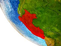 Peru on 3D Earth. Peru on model of Earth with country borders and blue oceans with waves. 3D illustration vector illustration