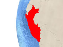 Peru on 3D globe. Map of Peru on globe with watery blue oceans and landmass with visible country borders. 3D illustration Royalty Free Stock Photo