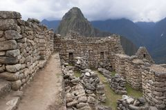 Peru da perspectiva das paredes de pedra de Machu Picchu Fotos de Stock