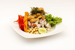 PERU DISH: Cebiche (ceviche) and chicharron with onion, called Caretillero Royalty Free Stock Photo